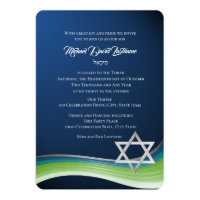 Star of David Green and Blue Gradient Bar Mitzvah Card