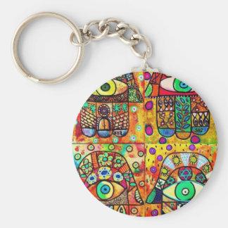 Star Of David Hamsa Vintage Tapastry Basic Round Button Keychain