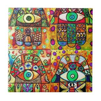 Star Of David Hamsa Vintage Tapastry Ceramic Tile