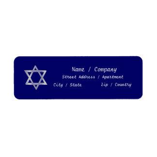 Star of David Hanukkah blue labels