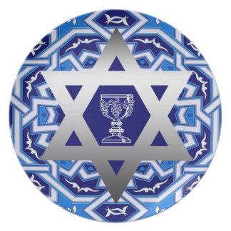 Star of David & Kiddush Design Seder Plates