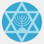 Star of David Menorah Classic Round Sticker
