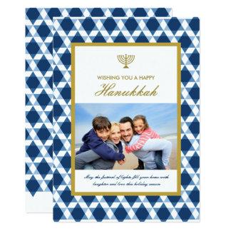Star Of David Menorah Hanukkah Photo Greetings Card