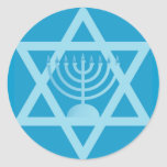 Star of David Menorah Round Stickers