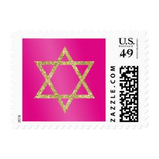 STAR OF DAVID modern classy gold glitter pink Postage
