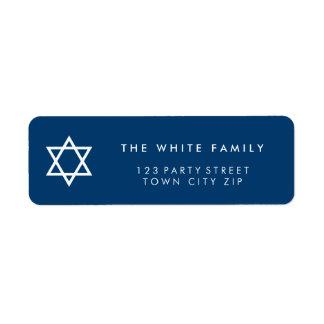 STAR OF DAVID modern plain simple navy blue white Label