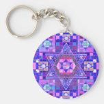 Star of David mosaic Basic Round Button Keychain