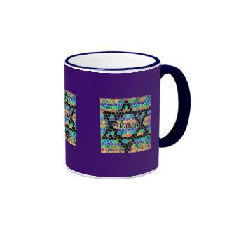 Star of David Mosaic-Shalom Ringer Coffee Mug