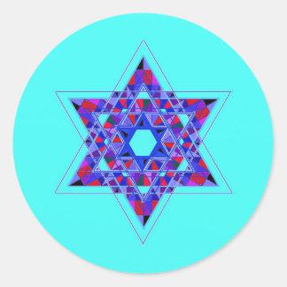 Star of David mosaic Round Stickers
