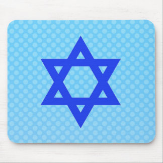 Star of David on blue polka dots. Mouse Pad