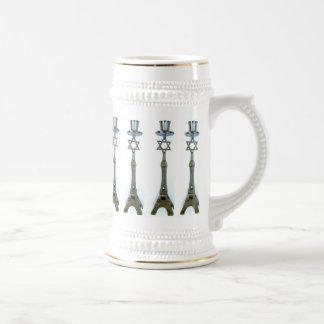 STAR OF DAVID ON EIFFEL TOWER CANDLESTICK BEER MUG