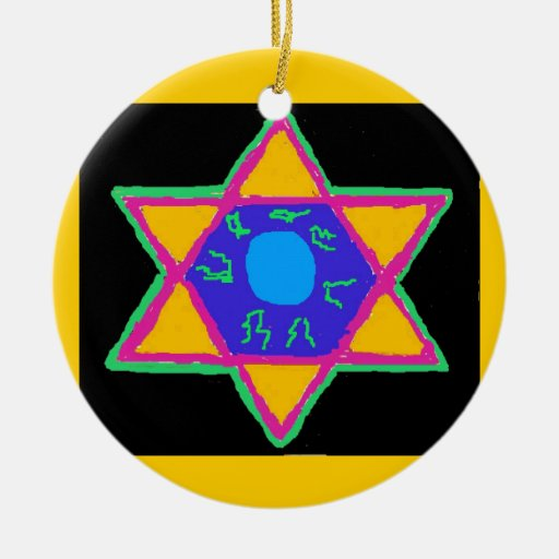 Star of David Double-Sided Ceramic Round Christmas Ornament