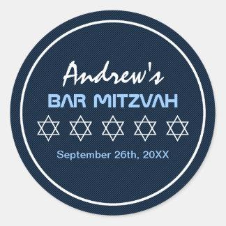 Star of David Pattern Bar Mitzvah Classic Round Sticker