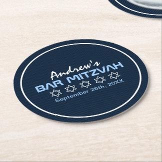 Star of David Pattern Bar Mitzvah Round Paper Coaster