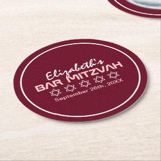 Star of David Pattern Bat Mitzvah Round Paper Coaster