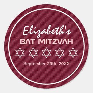 Star of David Pattern Bat Mitzvah Round Sticker