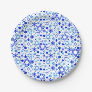 Star of David Pattern Hanukkah Passover Paper Plate