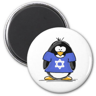 Star of David Penguin 2 Inch Round Magnet