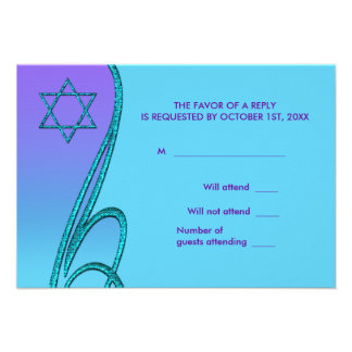 Star of David RSVP Cards Purple Teal Invites