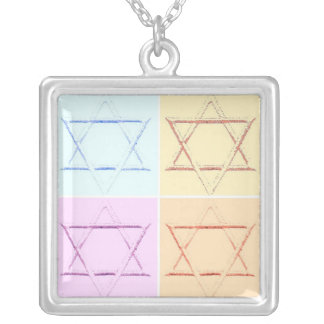Star of David/save the date Silver Plated Necklace