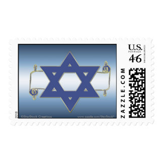 Star of David Scroll Postage Stamps