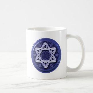 Star of David Silver on Blue Coffee Mug