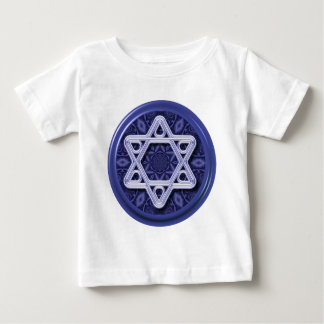 Star of David Silver on Blue Shirt