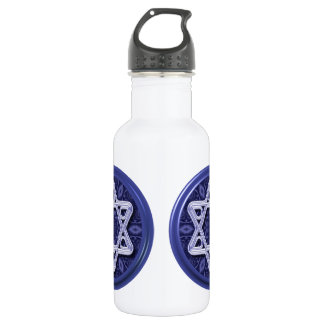 Star of David Silver on Blue Stainless Steel Water Bottle