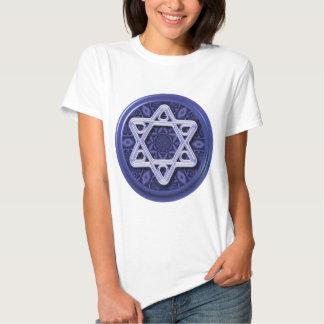 Star of David Silver on Blue T Shirt