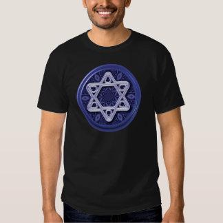 Star of David Silver on Blue Tee Shirt