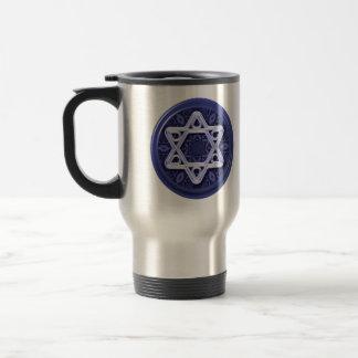 Star of David Silver on Blue Travel Mug