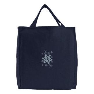 Star of David Snowflake Embroidered Tote Bag