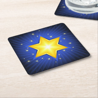 Star of David Square Paper Coaster