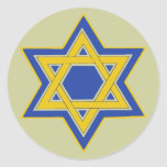 "Star of David sticker<br><div class=""desc"">The star of David symbol in blue & yellow gold. The background color can be changed. Stickers available in small and large sizes.</div>"