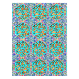 Star of David Turquoise Floral Tablecloth