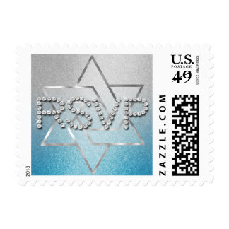 Star of David Turquoise Silver Ombre Glitz RSVP Postage Stamp
