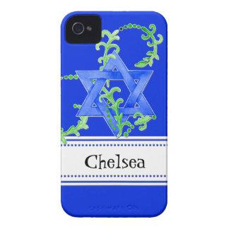 Star of David Watercolor Leaf Dot Swirl Invite Case-Mate iPhone 4 Case