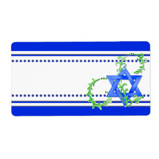 Star of David Watercolor Leaf Dot Swirl Invite Label