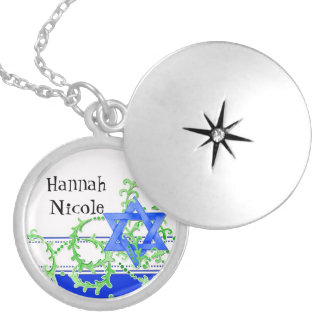 Star of David Watercolor Leaf Dot Swirl Invite Silver Plated Necklace
