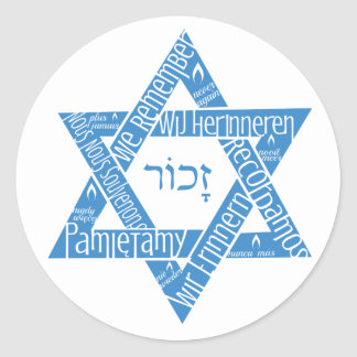 "Star of David ""We Remember - Never Again"" Classic Round Sticker"