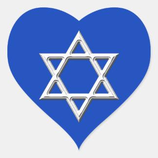 Star of David-White Heart Sticker