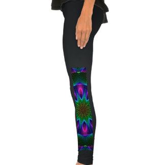 Star of Leaves, Abstract Leaves and Flowers Leggings