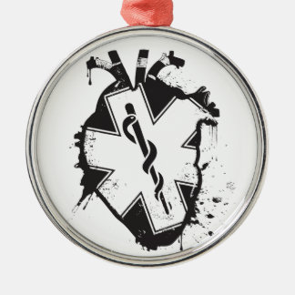 star of life anatomical heart metal ornament
