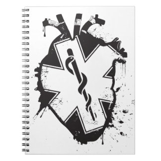 star of life anatomical heart notebook