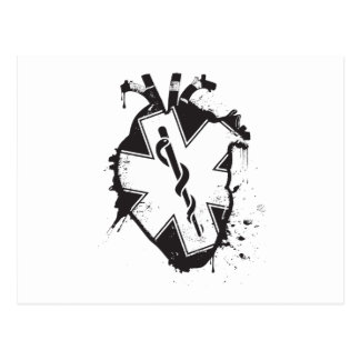 star of life anatomical heart postcard