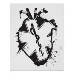 star of life anatomical heart poster