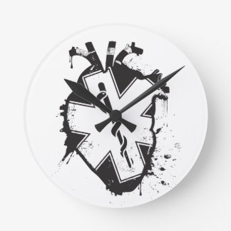 star of life anatomical heart round clock