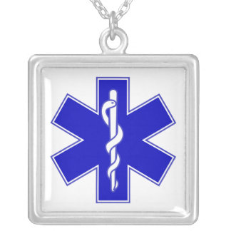 Star of Life / EMT Square Pendant Necklace