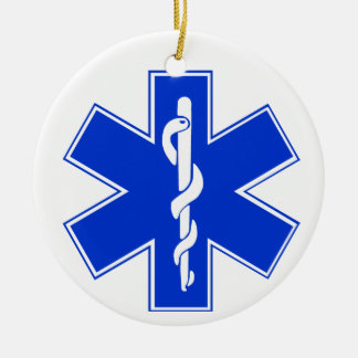 Star of Life / EMT Symbol Double-Sided Ceramic Round Christmas Ornament