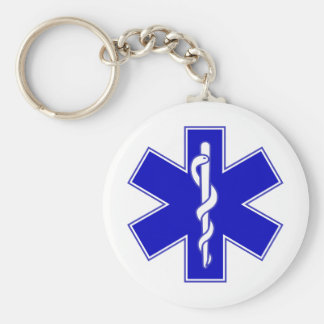 Star of Life Basic Round Button Keychain